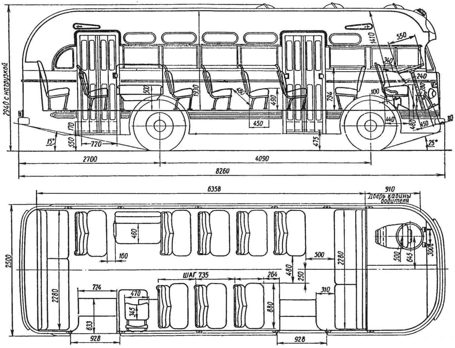 Компоновка автобуса ЗиС-155