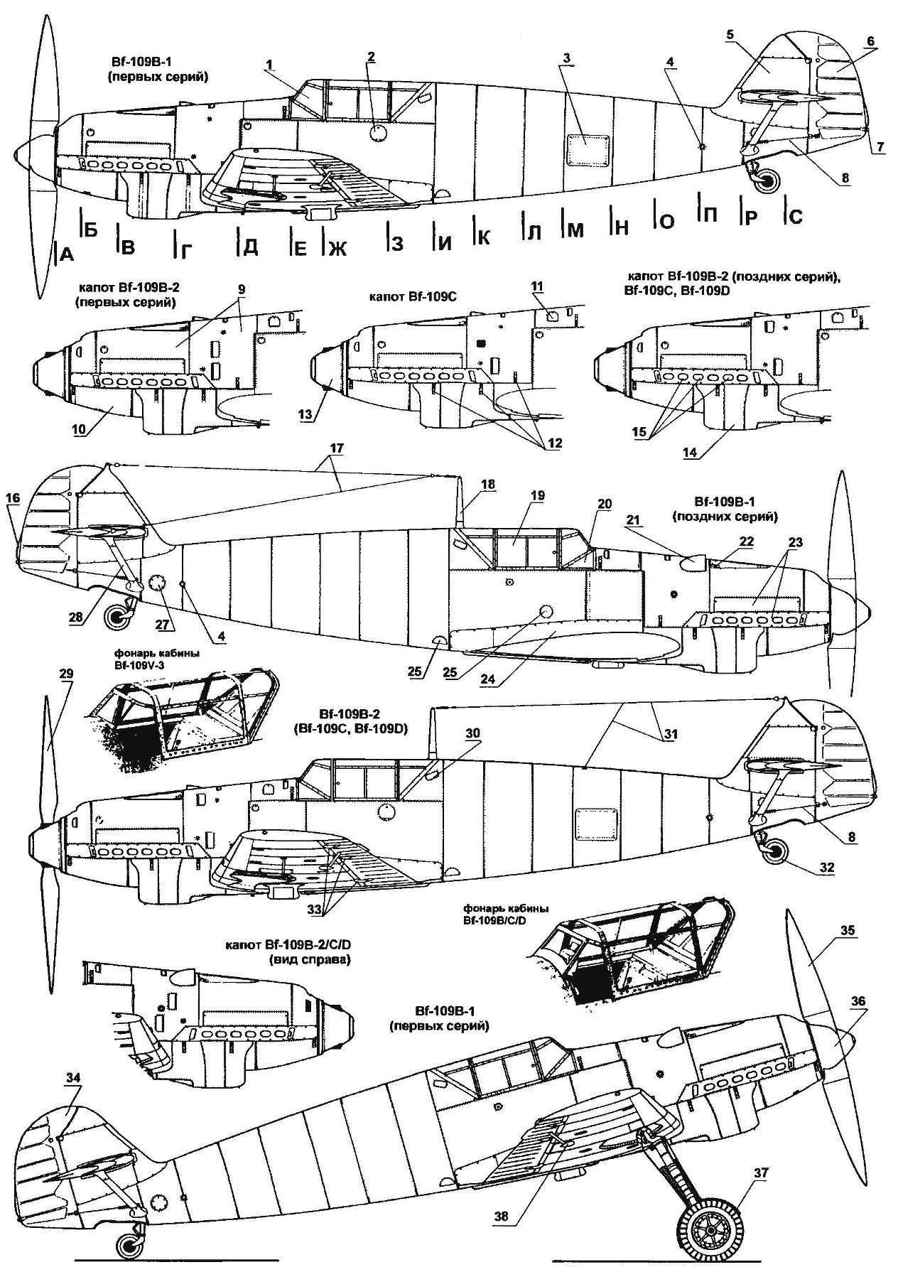 Самолеты-истребители MESSERSCHMITT Bf-I09B, Bf-109C и Bf-109D