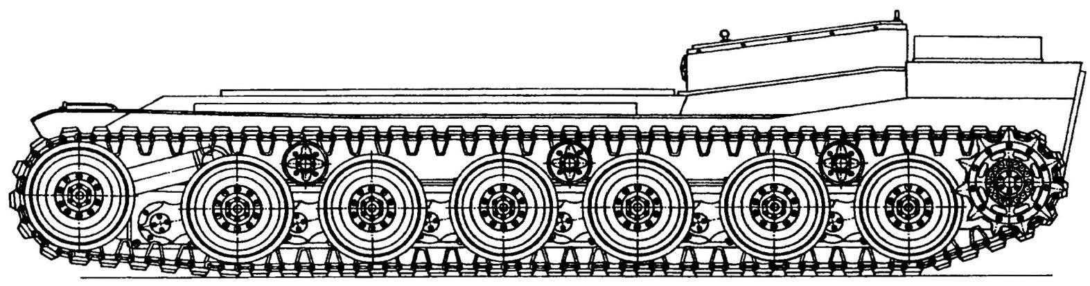 Ходовой макет шасси танка МВТ-70 (американский вариант) при минимальном клиренсе