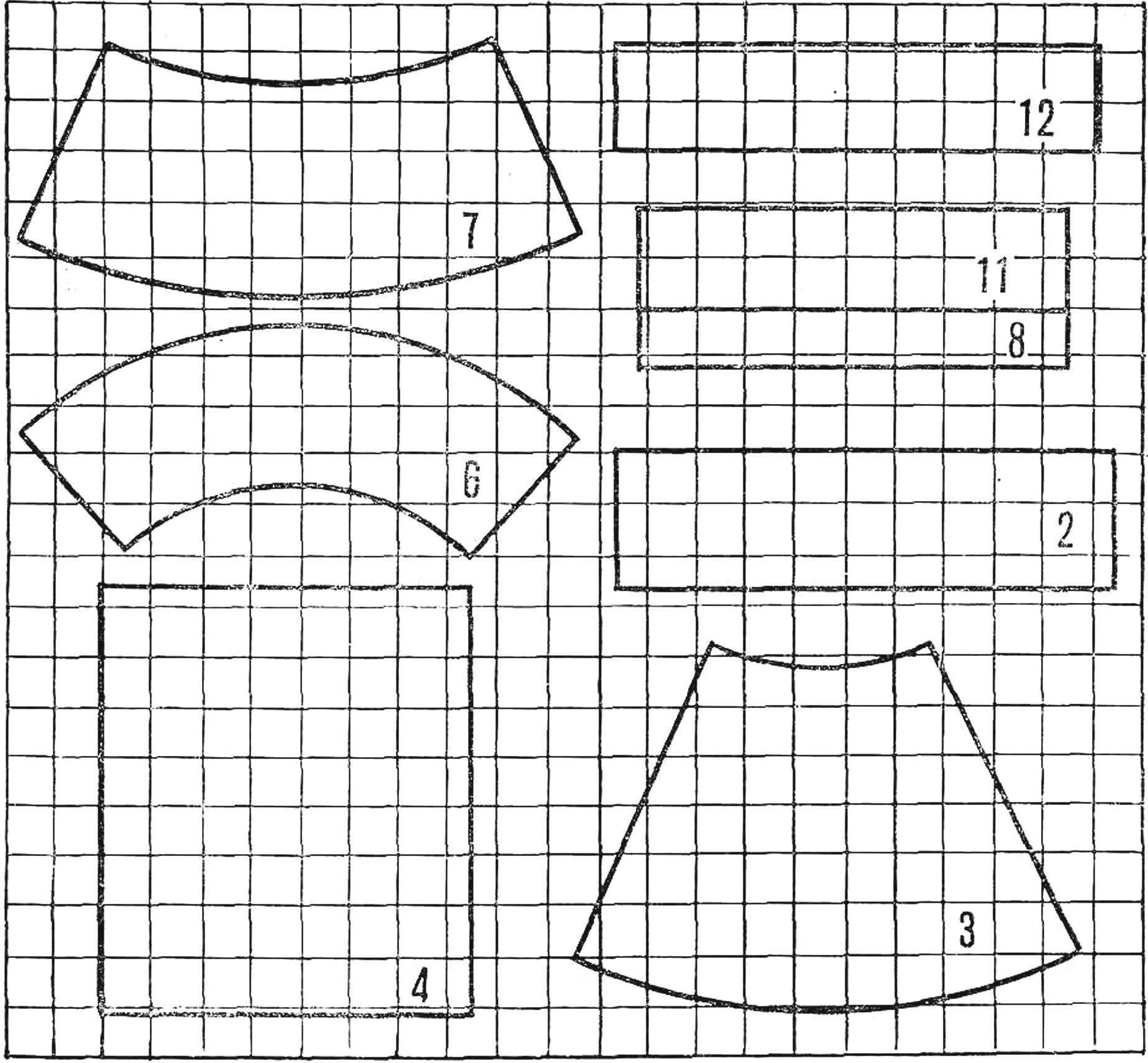 Рис. 2. Развертки бумажных частей модели.