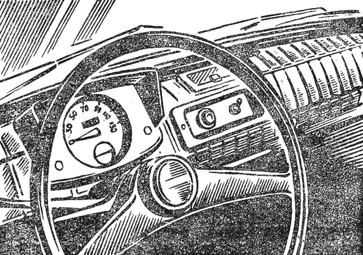 Steering wheel and dashboard.