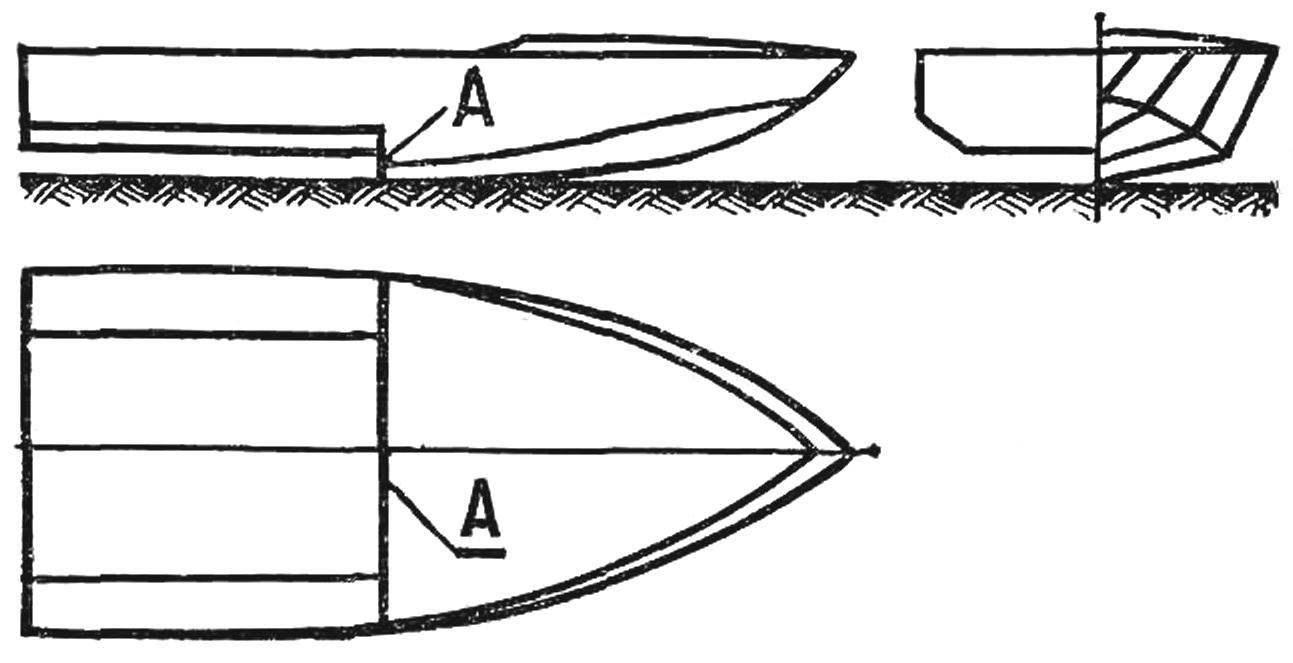 Рис. 4. Корпус глиссера с поперечным реданом (показан буквой А).