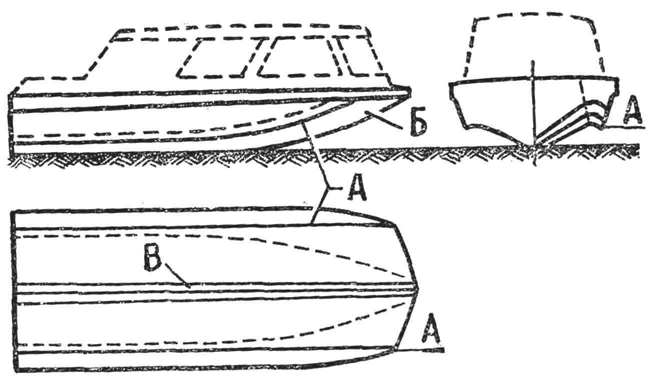Рис. 9. Корпус катера с обводами «кафедрал»
