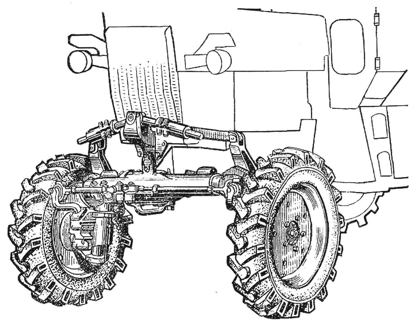 Рис. 4 Передняя шарнирная подвеска трактора МТЗ-82К.
