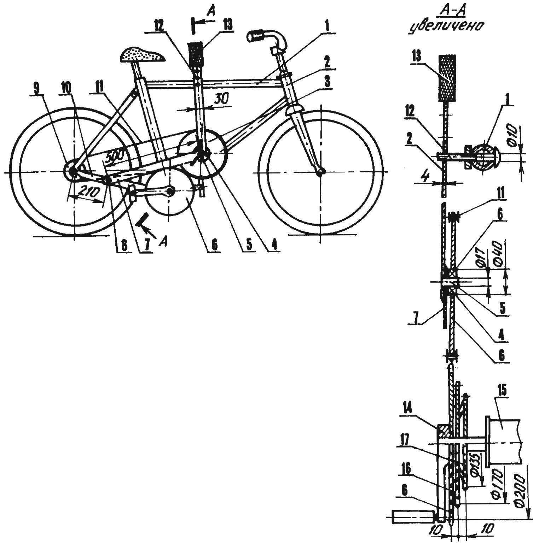 Многоскоростной велосипед с обратным вращением педалей