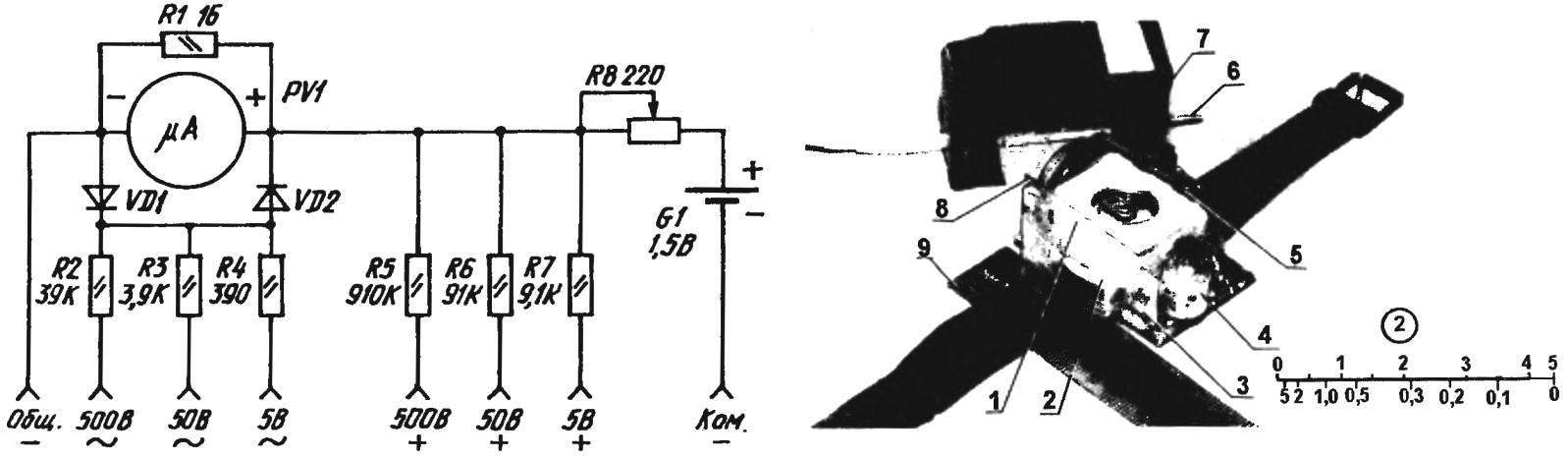 Принципиальная электрическая схема наручного тестера и ее воплощение в реальность (ученическая линейка изображена рядом для наглядной масштабности)