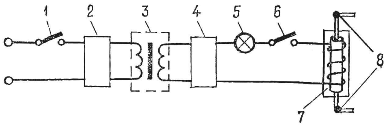 Рис. 1. Схема устройства для омагничивания воды