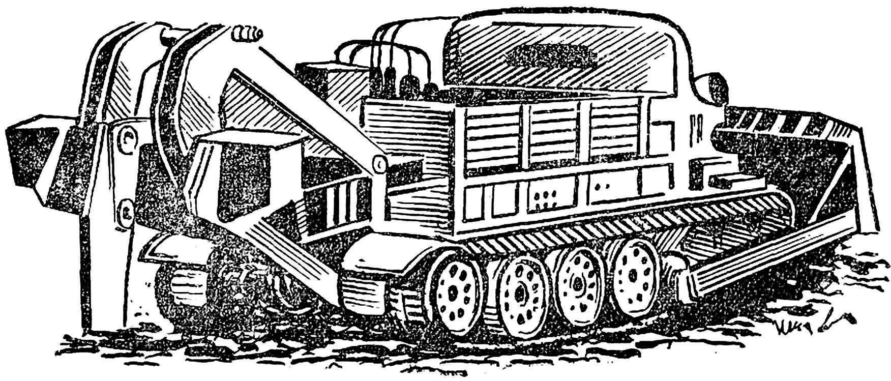 Рис. 1. Рыхлитель на базе тягача АТ-Т