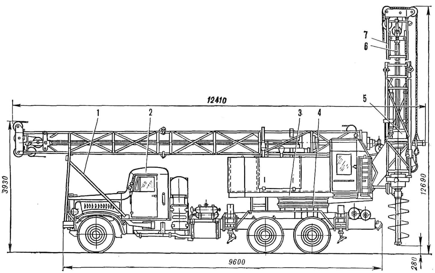 Fig. 8. Crane-boring machine BM-802С (working and transport position)