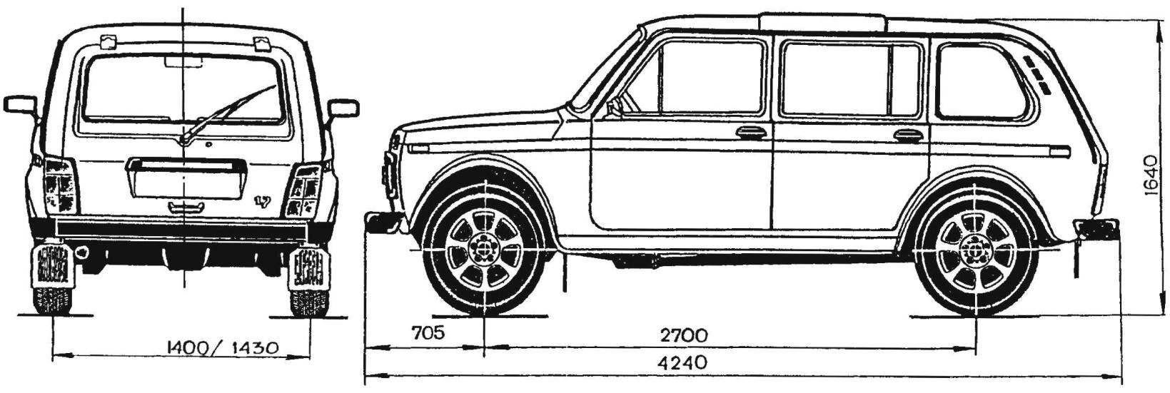 Геометрическая схема удлиненной «Нивы» ВАЗ-2131