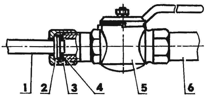 Присоединение к шаровому вентилю гибкой подводки