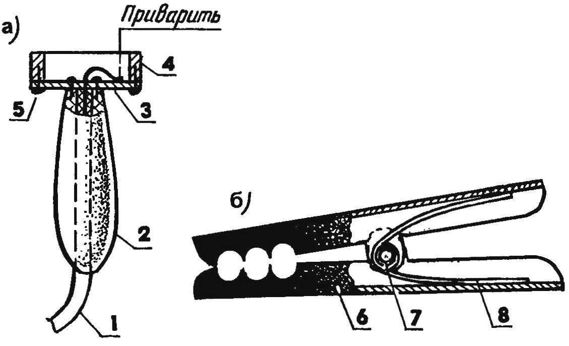 Рис. 3. Варианты приспособлений для контакта «земля» — магнитный (а) и зажим типа «крокодил» (б)