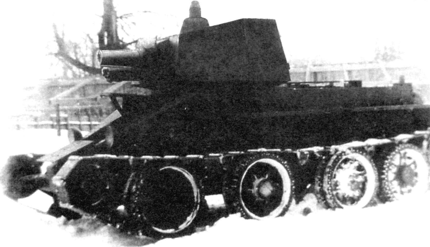 Артиллерийский танк Дыренкова Д-38, созданный на базе танка БТ-2. Первоначальный образец с двумя 76,2-мм и 37-мм пушками. 1932 г.
