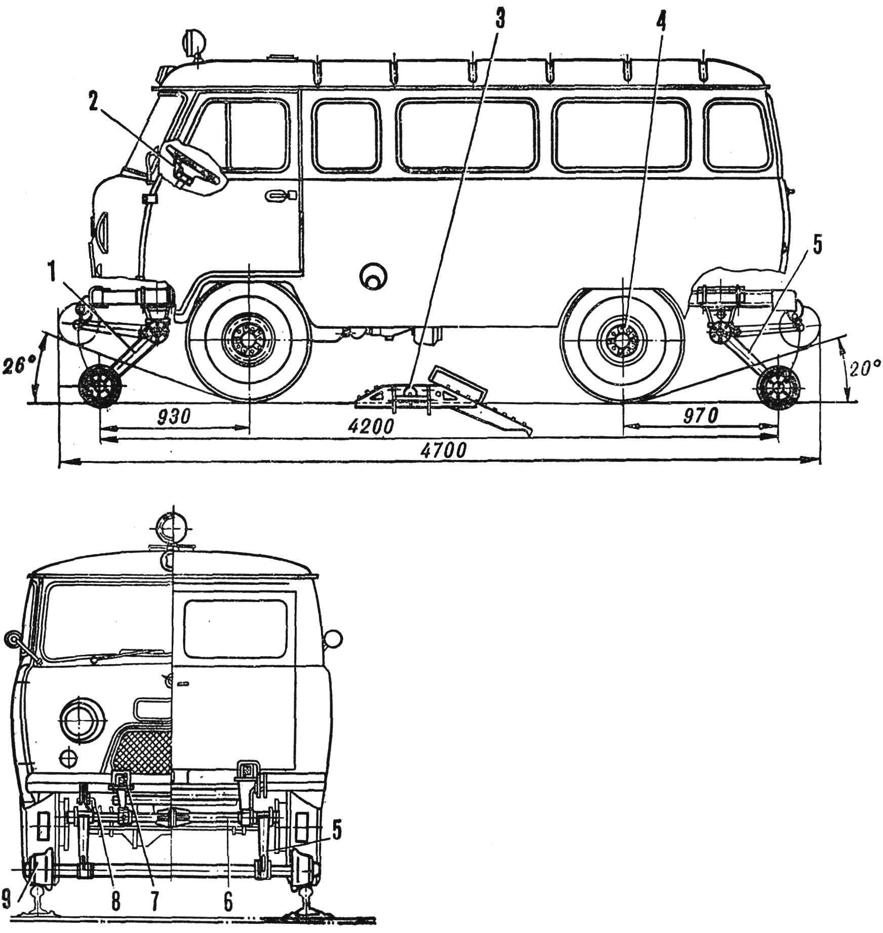 Рис. 2. Схема подвески комбинированного хода на автомобиле УАЗ-452А