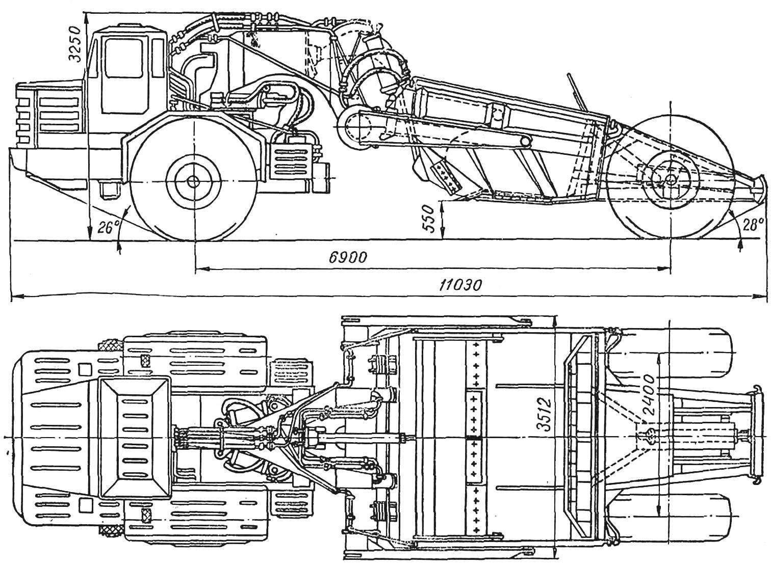 Рис. 1. Самоходный скрепер Д-567 с одноосным тягачом МоАЗ-546.