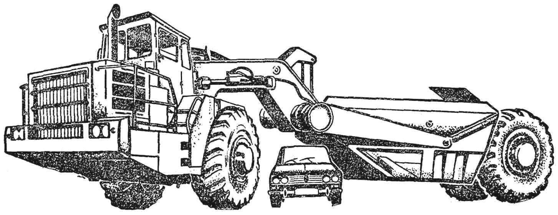 Рис. 3. Самоходный скрепер-гигант ДЗ-67 с мотор-колесами.