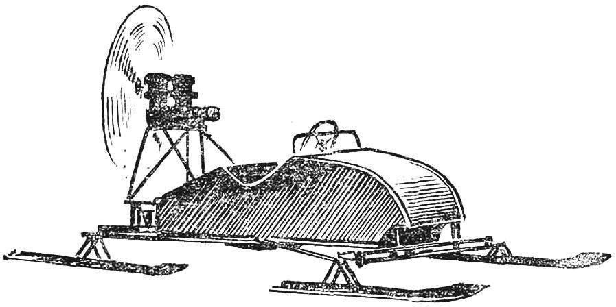 Рис. 1. Аэросани с двумя двигателями ПД-10, работающими на один винт.
