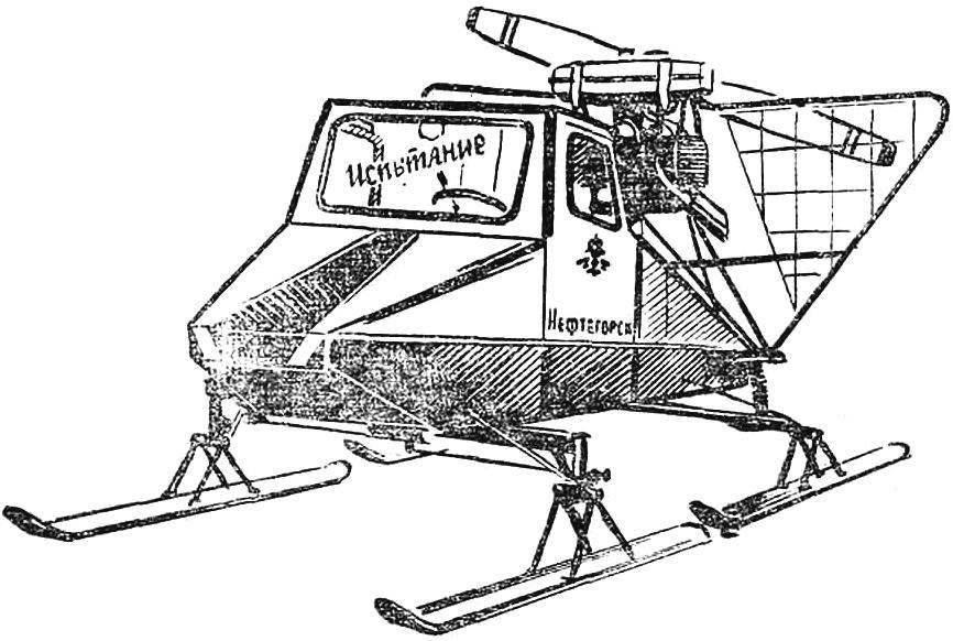 Рис. 10. Двухместные аэросани М. Носикова (г. Нефтегорск) с параллельным расположением сидений.