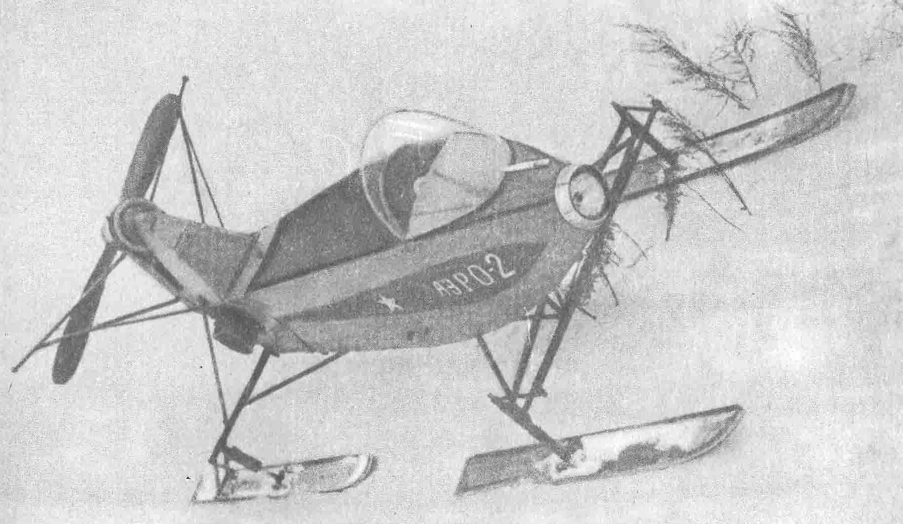 Оригинальная подвеска лыж аэросаней, построенных П. Семкиным, на рамках-качалках.