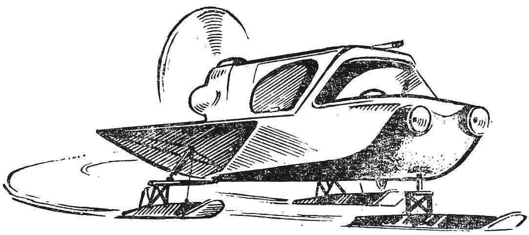Fig. 4. Snowmobile with enclosed body, built N. Mezentsev (the Leningrad region). The engine of the motorcycle M-72, drive screw V-belts.