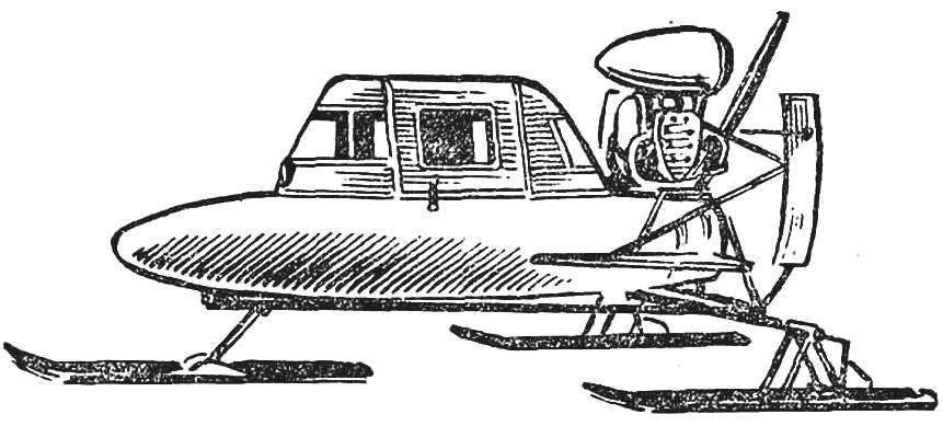 Рис. 5. Сигарообразный закрытый корпус отличает аэросани А. Сироткина (Ярославская обл.). Двигатель от мотоцикла М-72, привод на винт безредукторный.