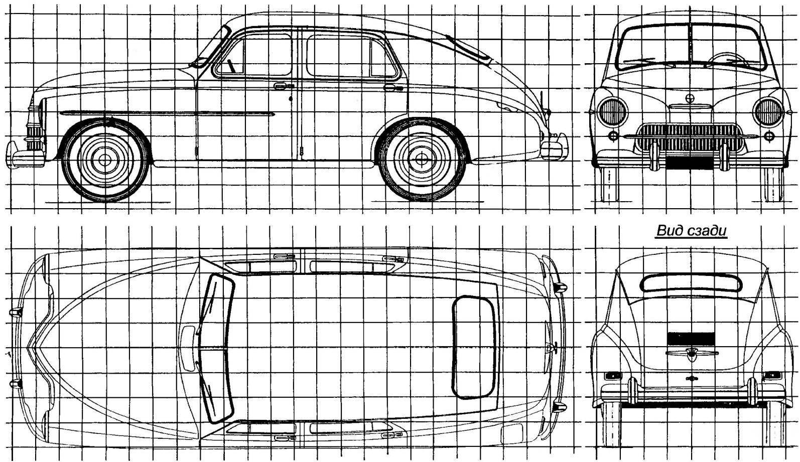 Автомобиль WARSZAWA, выпускавшийся по советской лицензии на польском заводе FSO (сторона квадрата координатной сетки составляет 200 мм)