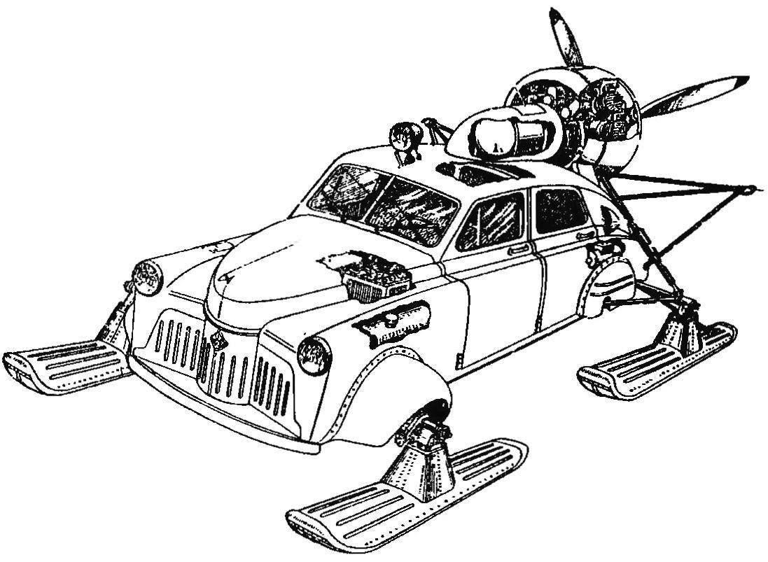 Почтовые аэросани «Север-2», созданные на базе кузова «Победы» в конструкторском бюро Н.И.Камова