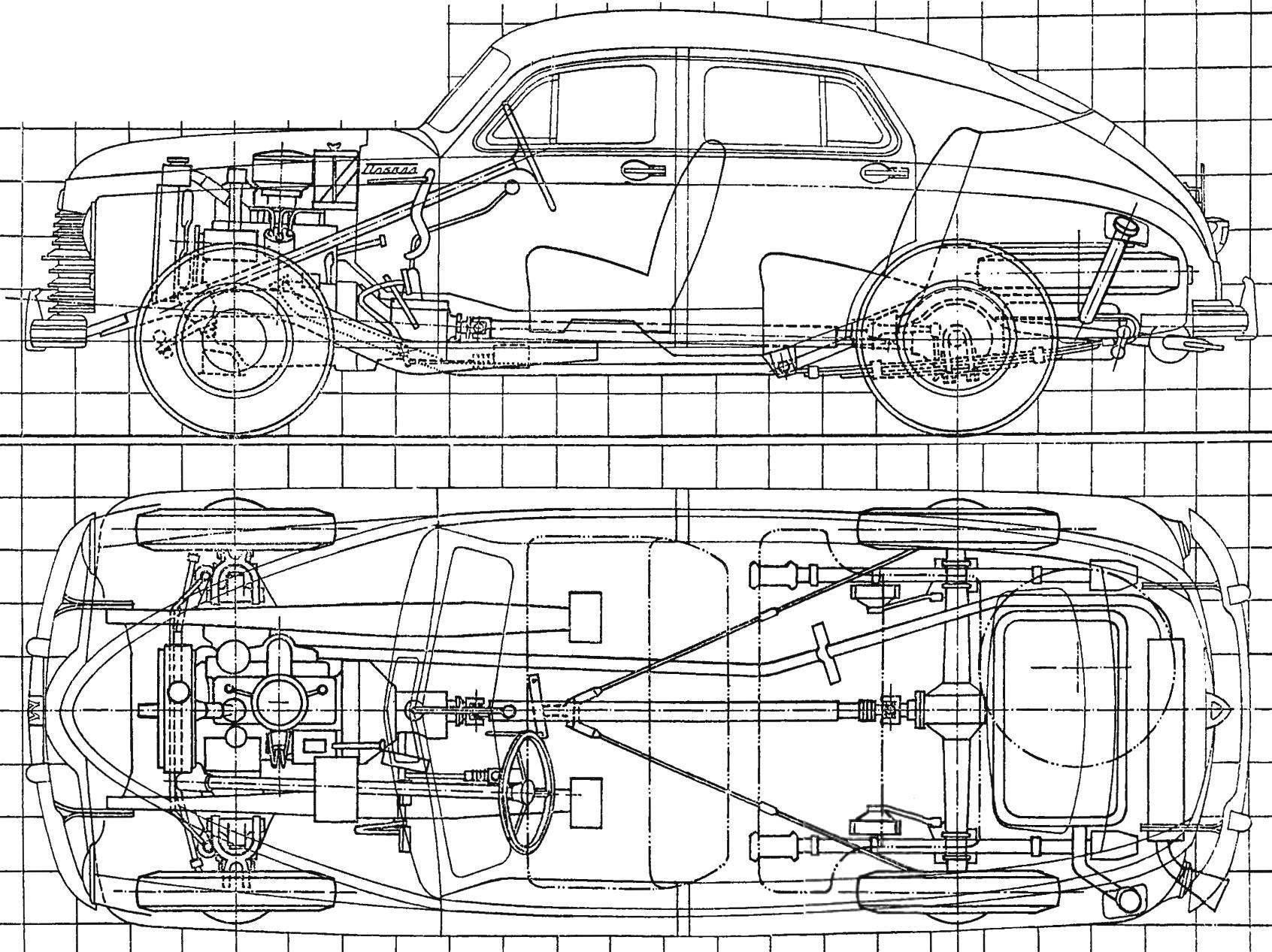Компоновка автомобиля «Победа» ГАЗ-М20 первого выпуска (сторона квадрата координатной сетки составляет 200 мм)