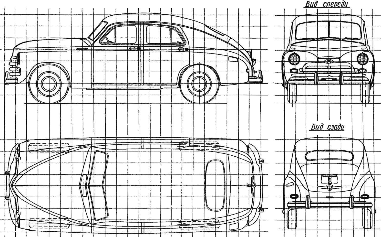Геометрическая схема автомобиля «Победа» ГАЗ-М20В (сторона квадрата координатной сетки составляет 200 мм)