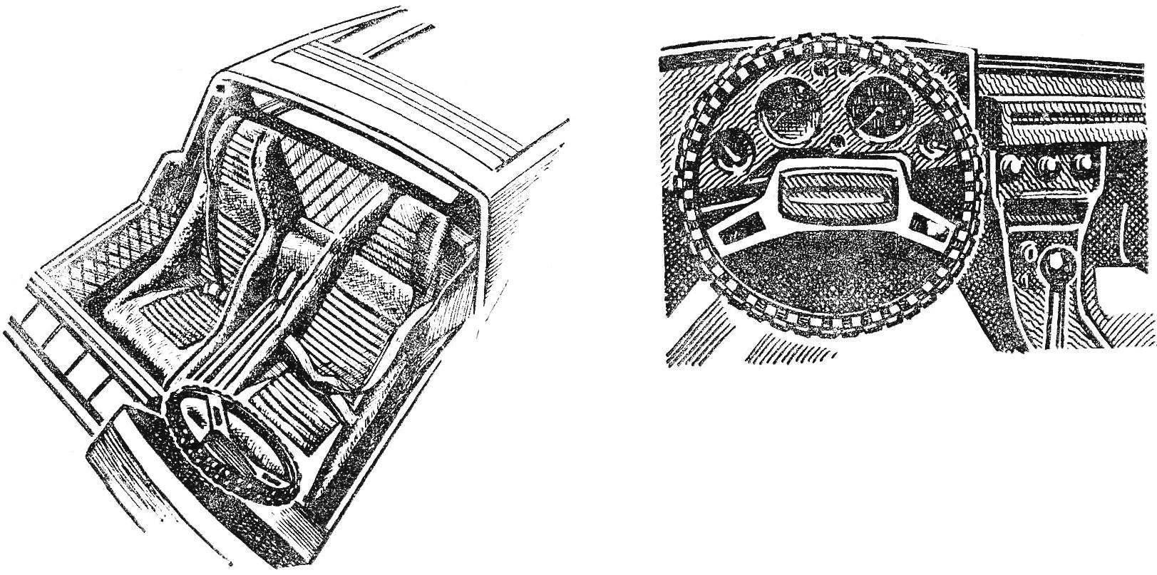 Интерьер кабины и приборный щиток с рулевым колесом автомобиля «Шкода-110 GT».