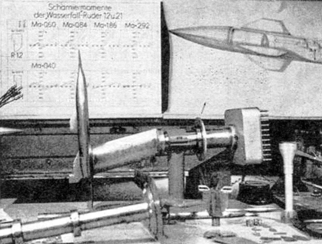 Продувочная модель ракеты «Вассерфаль» с подвеской