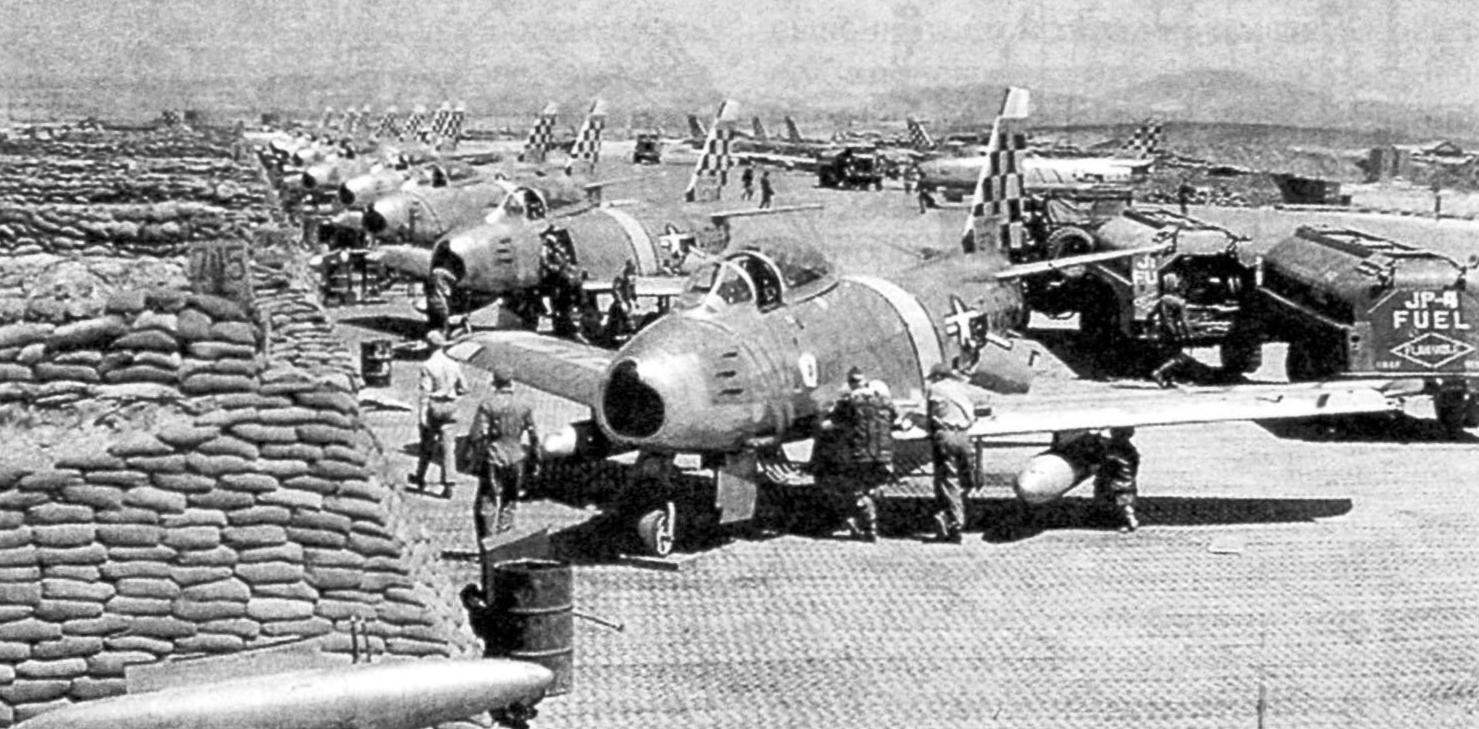F-86Е of the 25 squadron of the 51st wing fighter interceptors at the airstrip in Korea