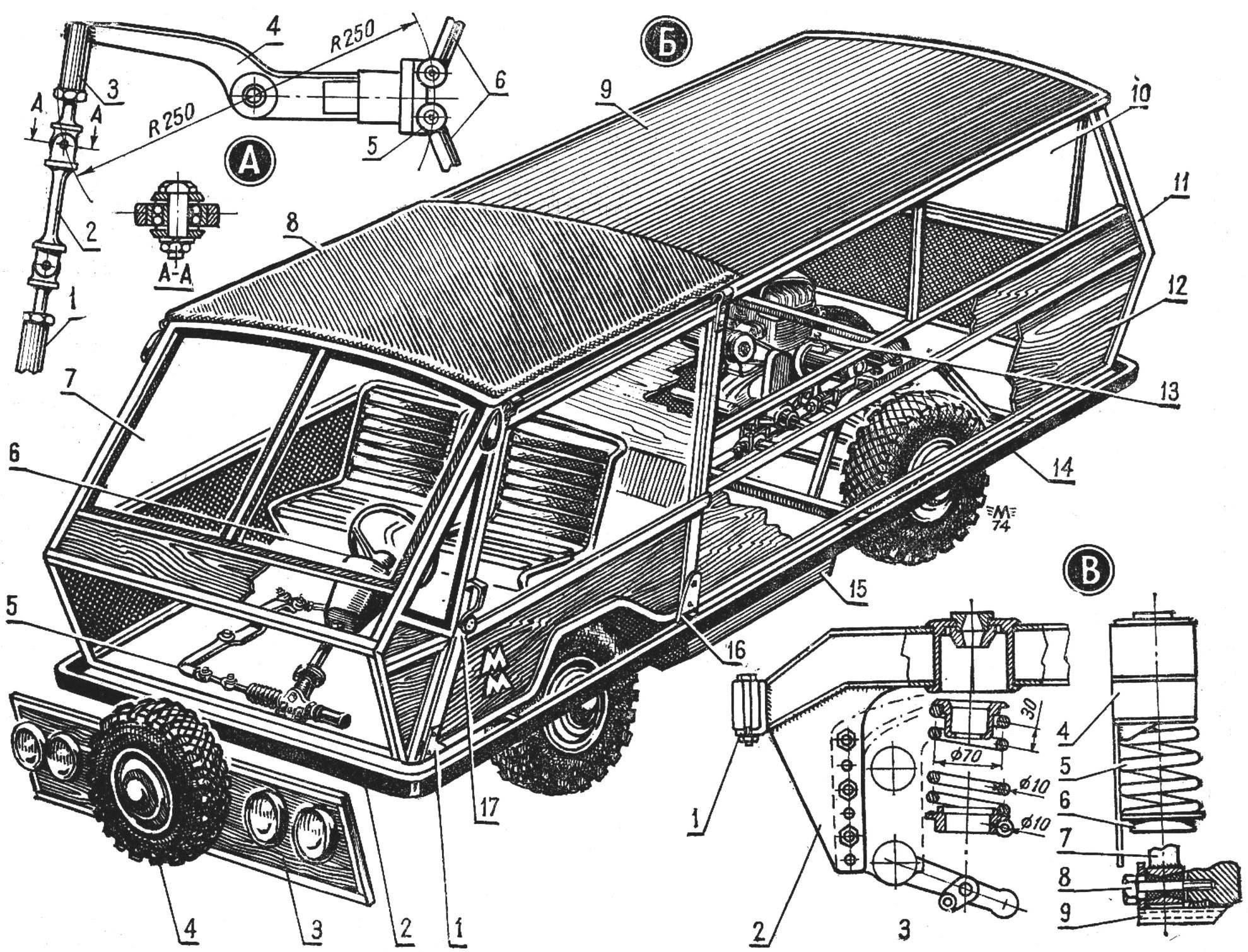 Рис. 1. Компоновка микроавтомобиля «Минимакс» и детали подвески