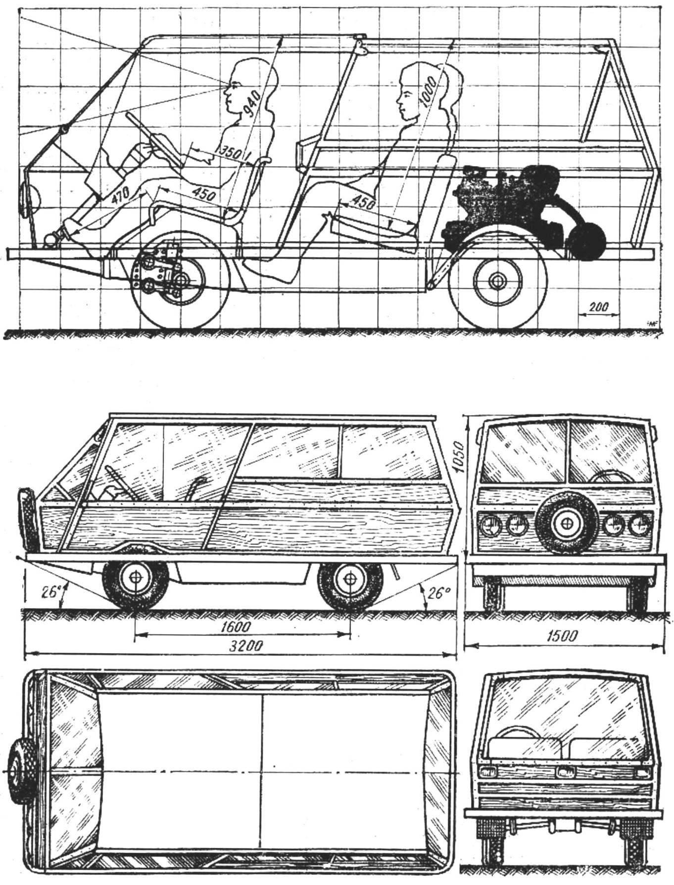 Рис. 3. Схема микроавтомобиля «Минимакс» в четырех проекциях и основные размеры посадочных мест.