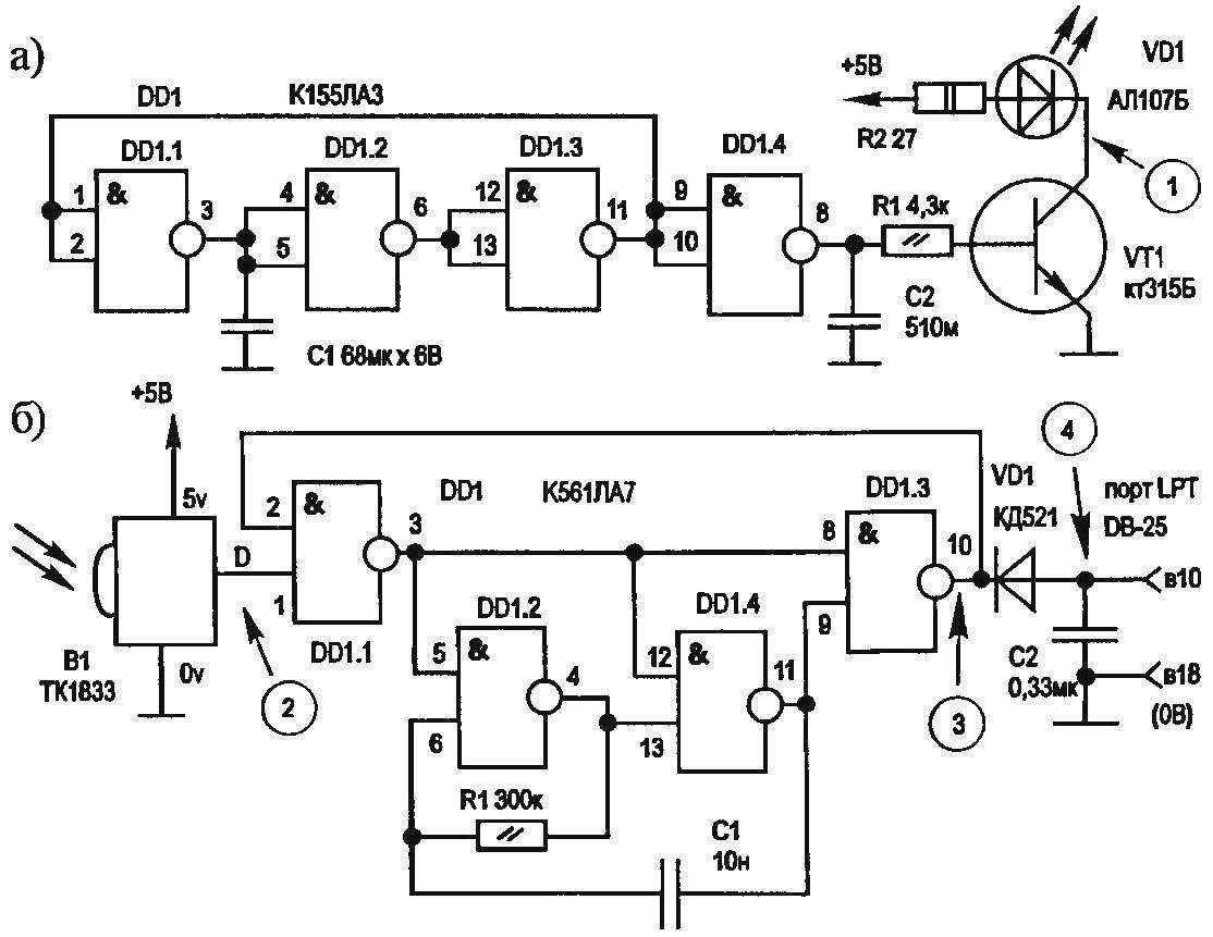 Circuit diagram of IR transmitter (a) and IR receiver (b) using the remote control from TV or VCR (video player)