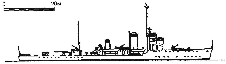 31. Эскортный корабль (бывший тральщик) W-1, Япония, 1944 г.