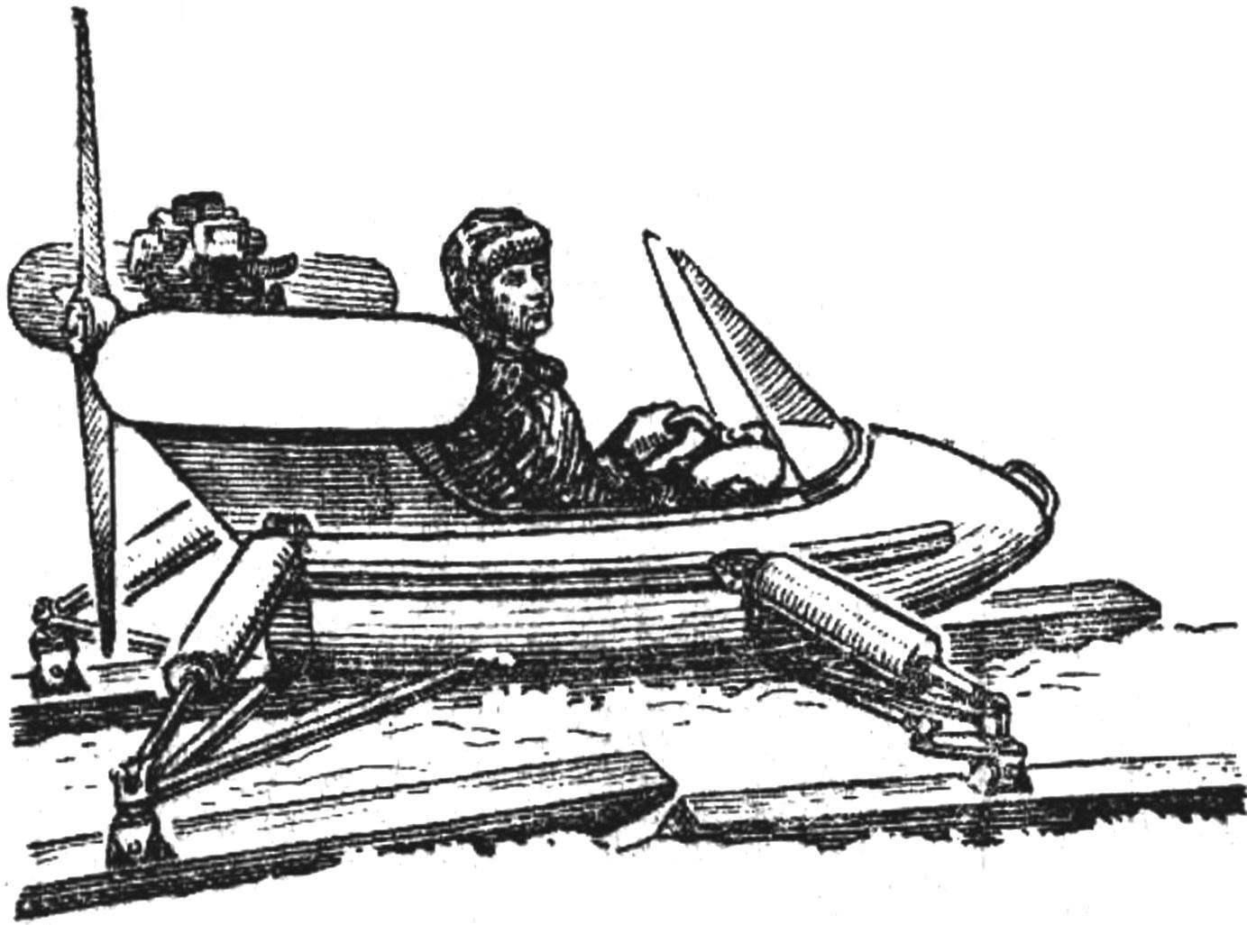Четырехлыжные аэросани «Плавунец»