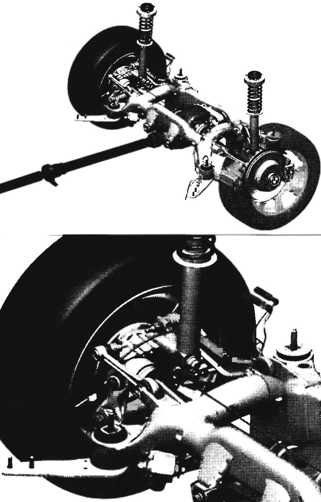 Multi-link rear suspension — almost all of its parts from aluminum alloy. Made of aluminum and the propeller shaft