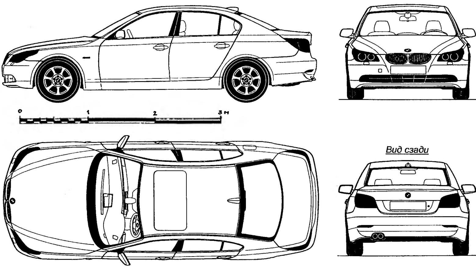 Geometric diagram of a BMW 530i
