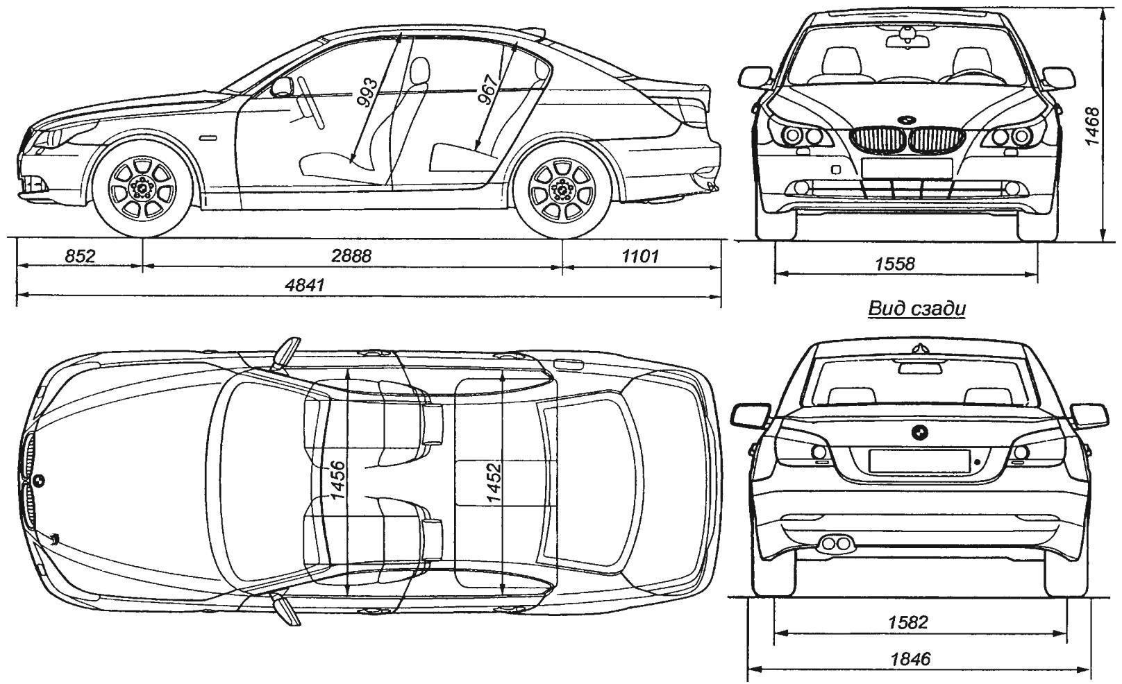 Основные размеры автомобиля BMW 530i