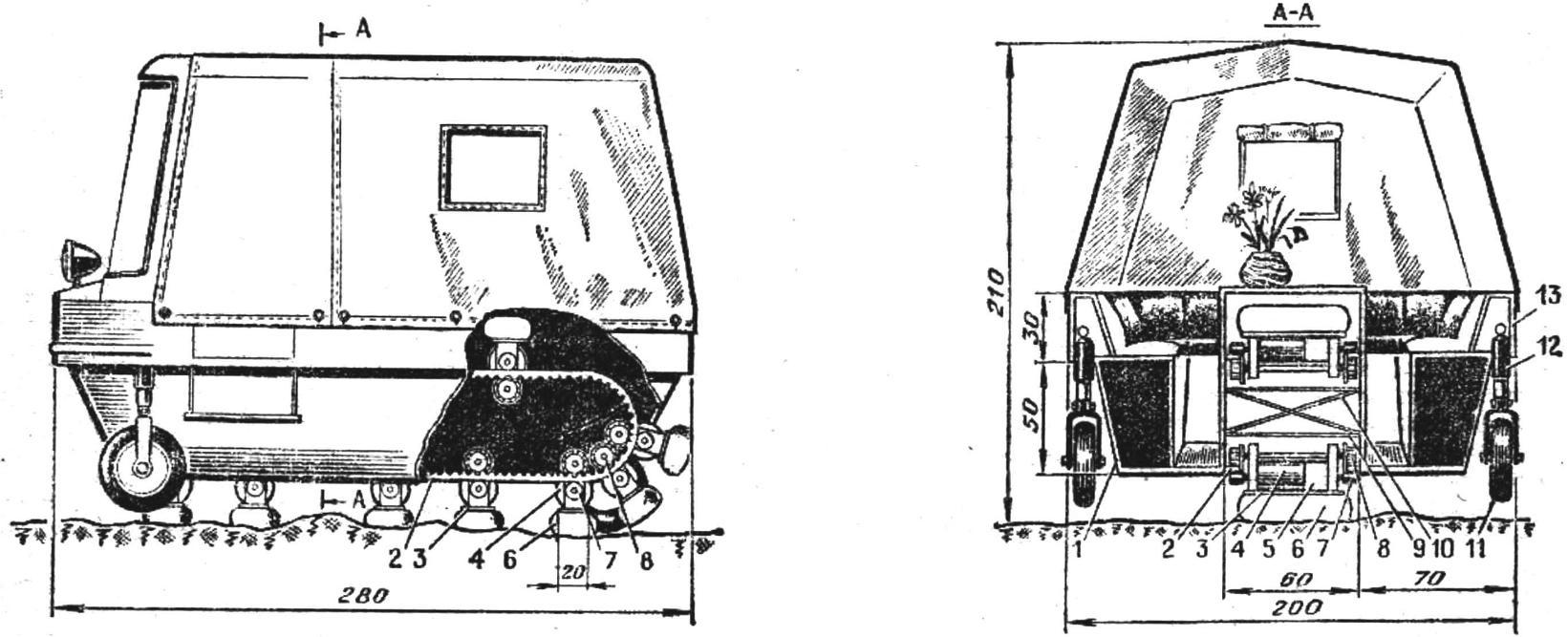 Рис. 1. Схема вездеходной дачи-палатки
