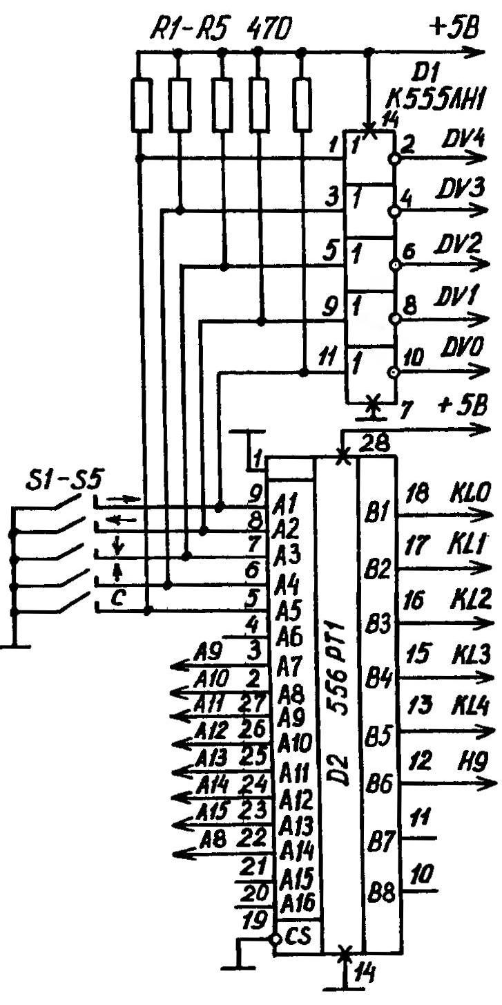 Принципиальная электрическая схема доработки джойстика (придания ему функций дополнительной мини-клавиатуры)