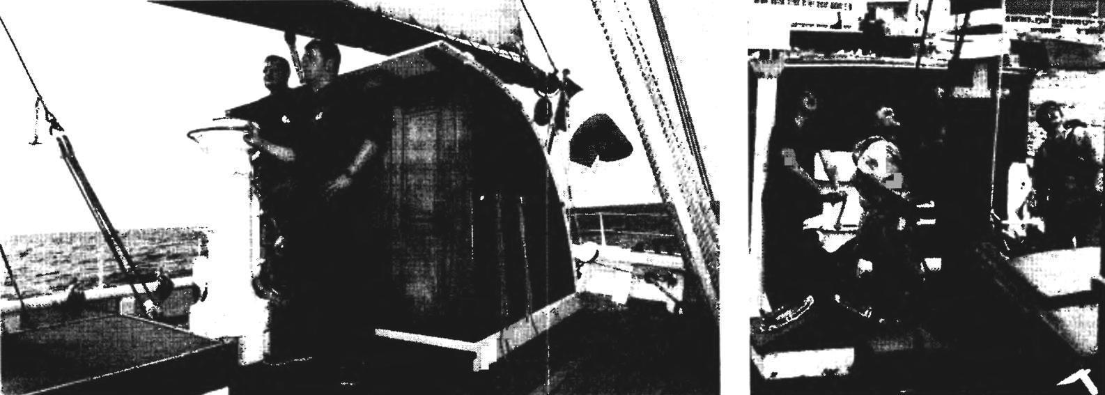 Вахта у штурвала шхуны «Белль Пуль». Постановка марселя на шхуне «Этуаль» с помощью такелажной лебедки.