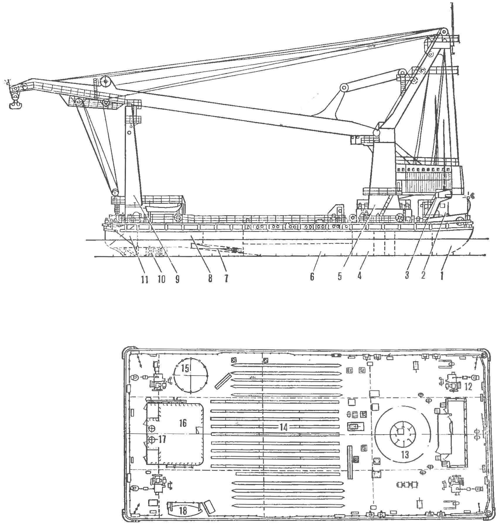 Рис. 2. Схема крана «Богатырь» (вверху — вид сбоку, внизу — план палубы)