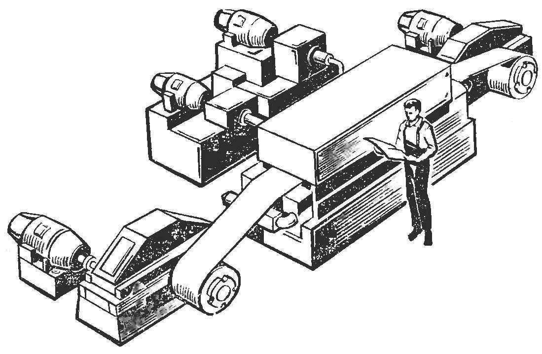 Рис. 2. Иглофрезерный агрегат для зачистки металлических полос.