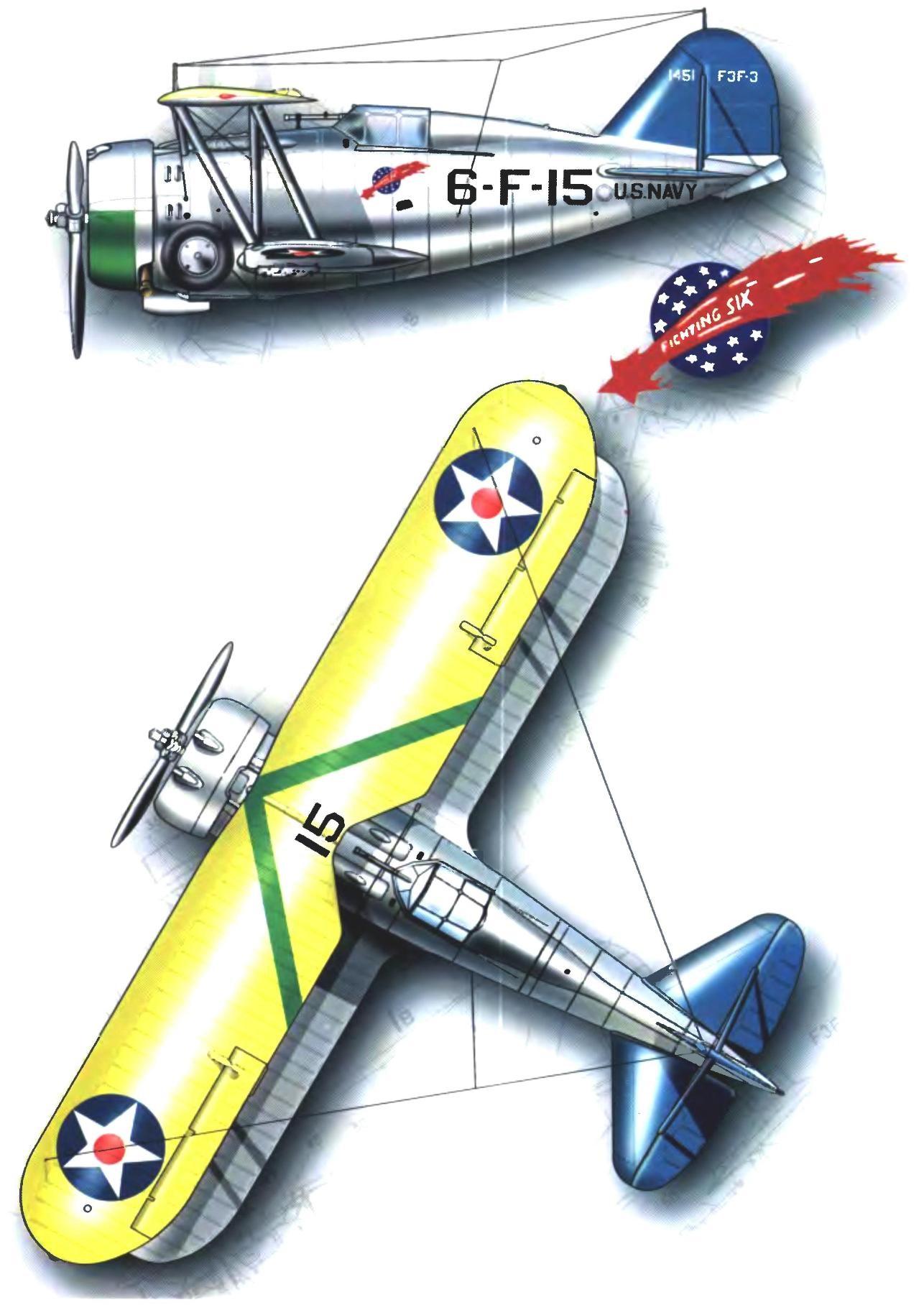 Истребитель F3F-3 из эскадрильи VF-6. Август 1940 года