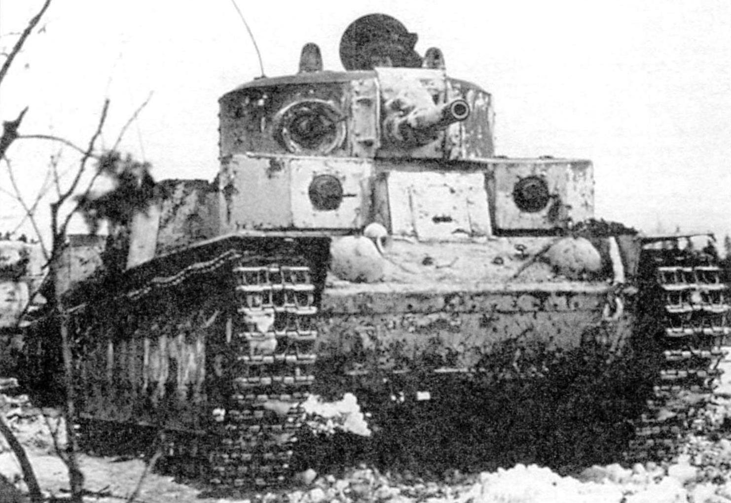 T-28 in an ambush on the Karelian isthmus. Winter war, 1940