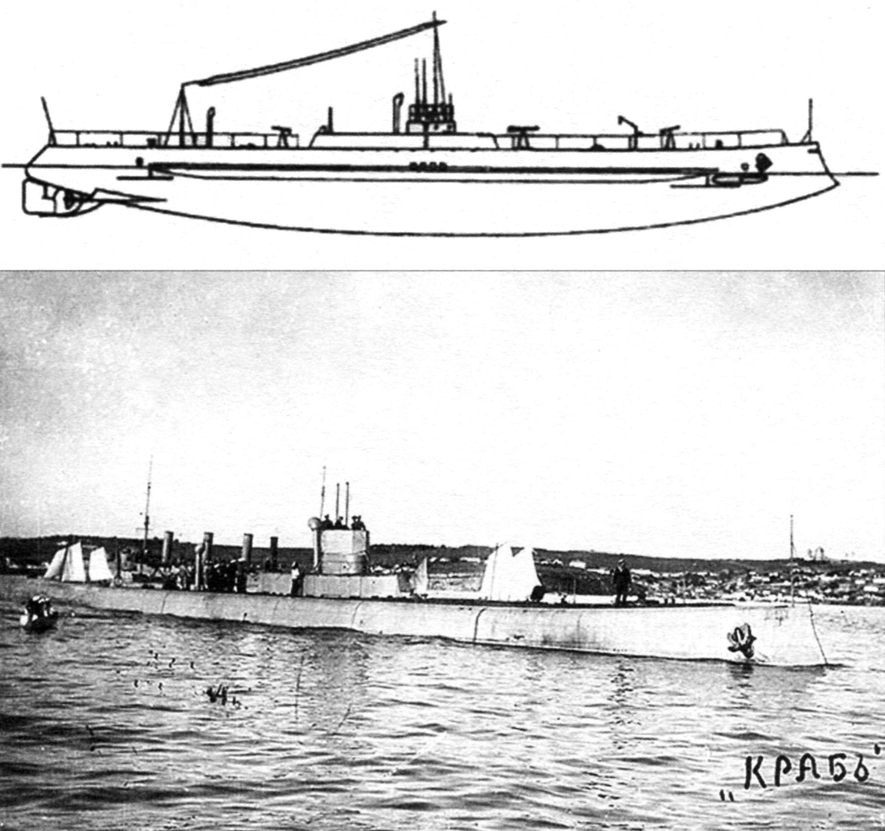 Подводный минный заградитель «Краб», Россия, 1916 г.