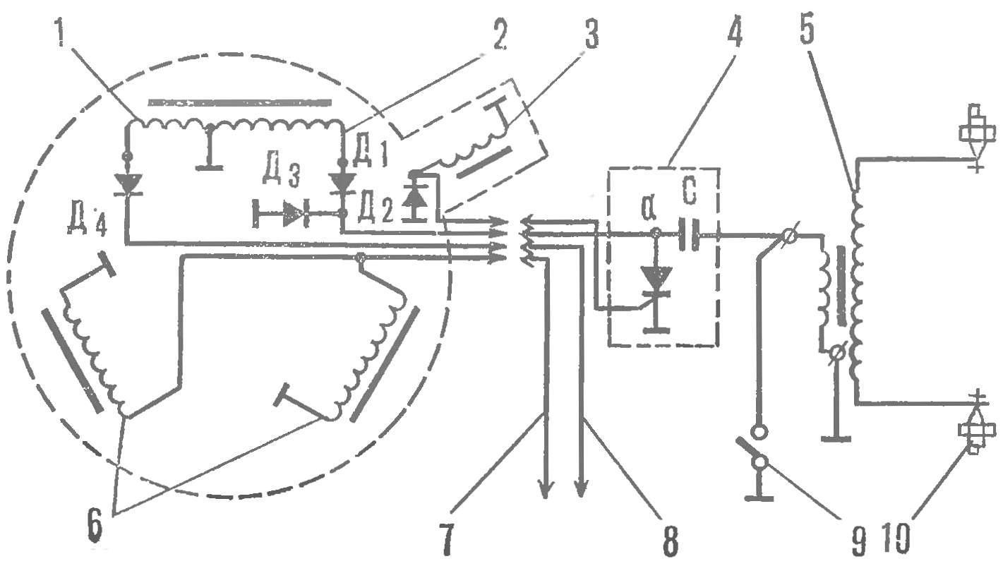 Рис. 8. Принципиальная схема электронного зажигания