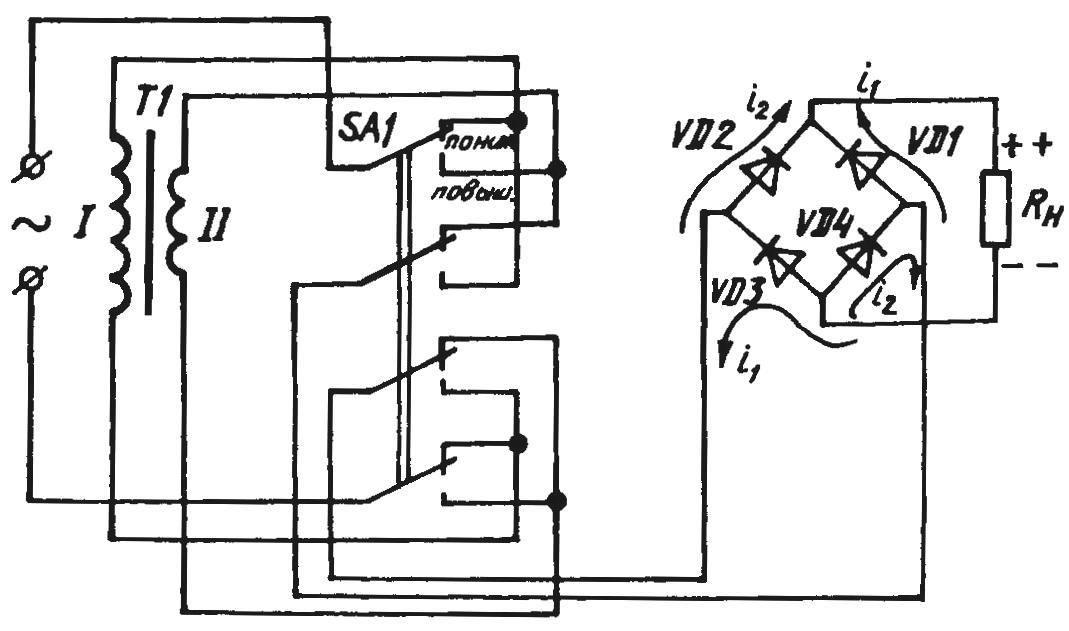 Принцип преобразования переменного напряжения в пониженное (повышенное) постоянное при помощи трансформатора с выпрямительным мостом